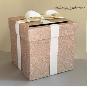 Champagne and Ivory Wedding Card Box with Bow